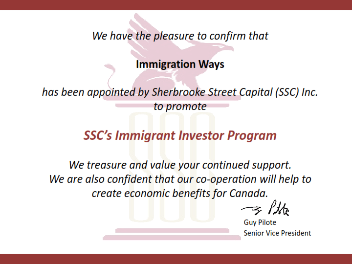 SSC's Immigrant Investor Program
