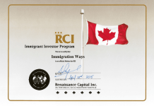 RCI Immigrant Investor Program Certificate