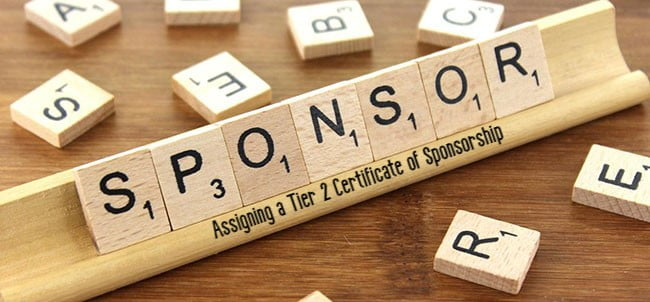 Assigning a Tier 2 Certificate of Sponsorship