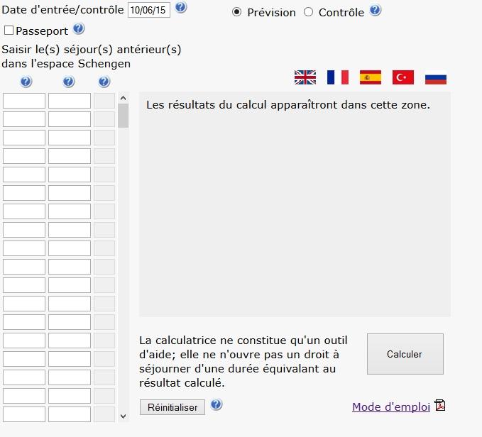 Calculer le nombre de jours restant-Visa Court séjour