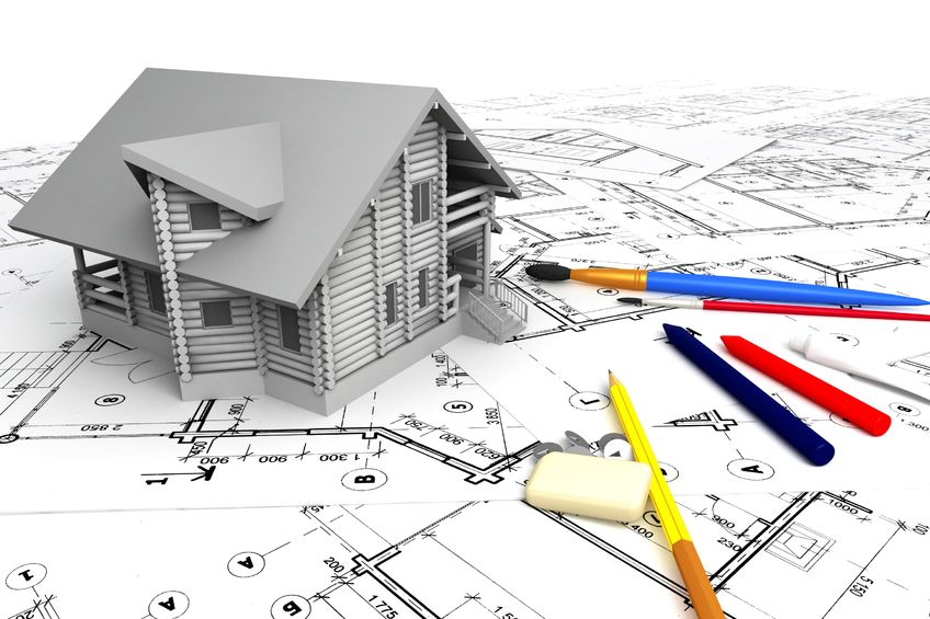 12291658 – wooden house on the drawings with stationery