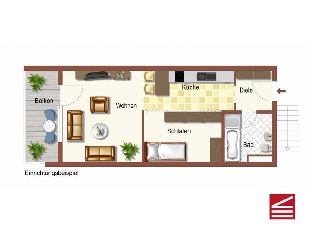 Gut vermietbares 1-Zimmer-Apartment mit Balkon u. KFZ Stellplatz