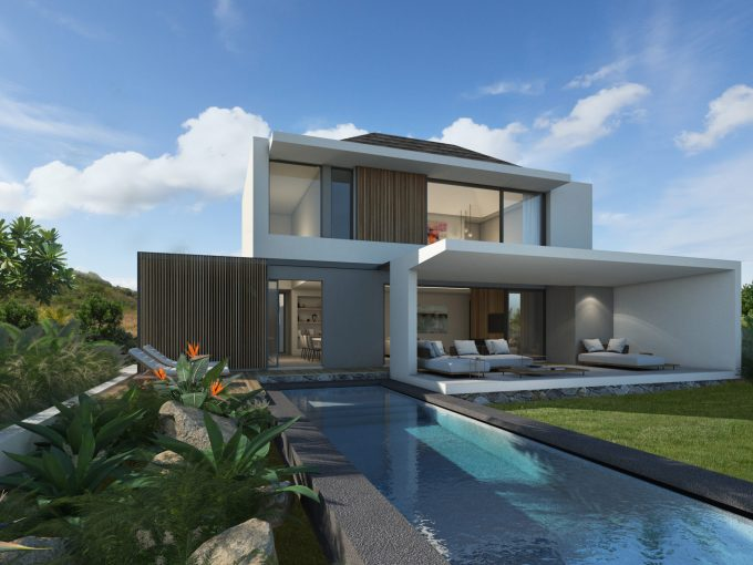 Exterior with pool Villa Pure scaled