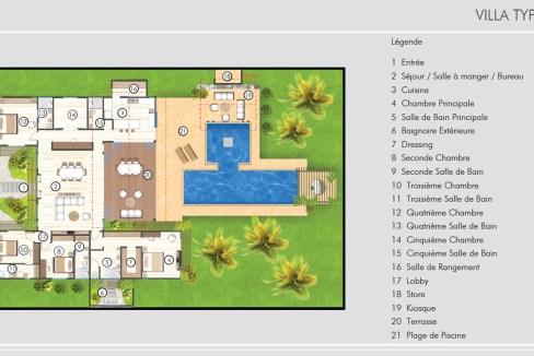 villa de 5 chambres à coucher, avec salles de bain attenantes,