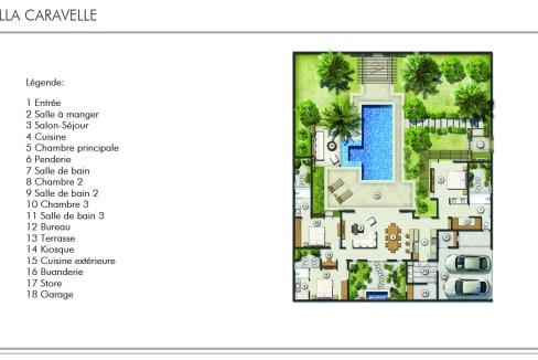 a villa Caravelle, de plain-pied, couvre une surface construite de 300 m², avec jardin privé.