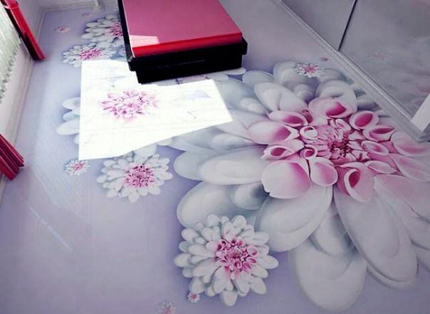 revêtement-sol-résine-aspect-3D-fleurs