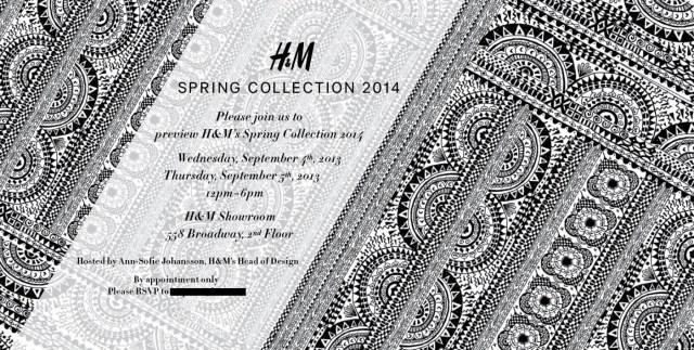 H&M invite Spring 2014
