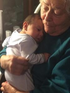 One Month Old visting Grandma