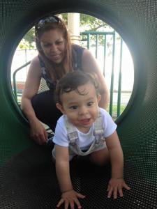 Esther and Cristian playing in the park