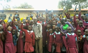 Mike after distributing bibles at a girls school