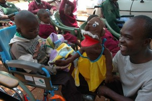 Puppet ministry at the mobile clinic