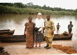 Waiting to cross a river in Togo