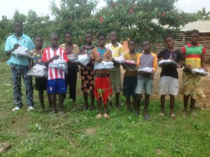 JP orphans with school supplies