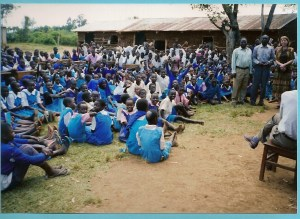 Shirley sharing with schoolchildren in Kenya