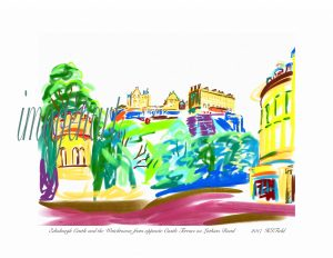 iPad print of Edinburgh castle drawn from Lothian Road