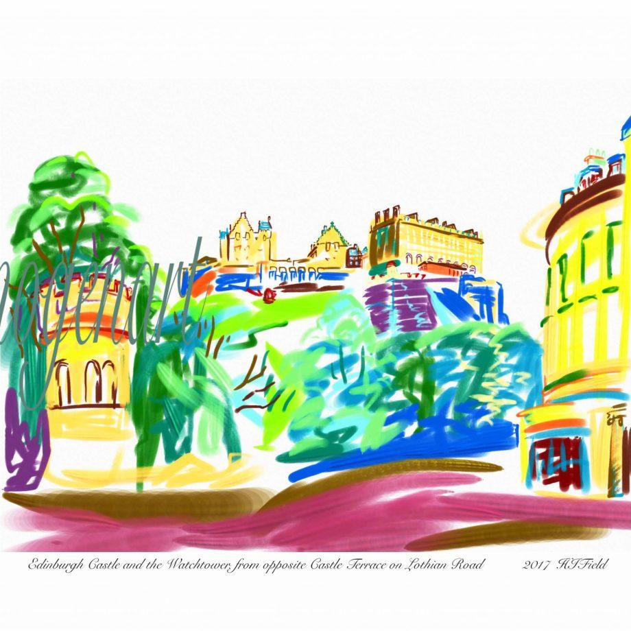 iPad print of Edinburgh castle drawn from Lothian Road