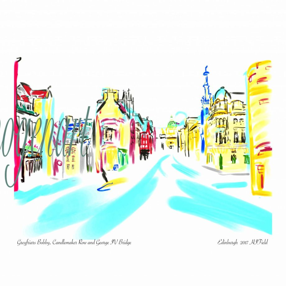 iPad print of liveSketch of George IV street and the National Museum (right)