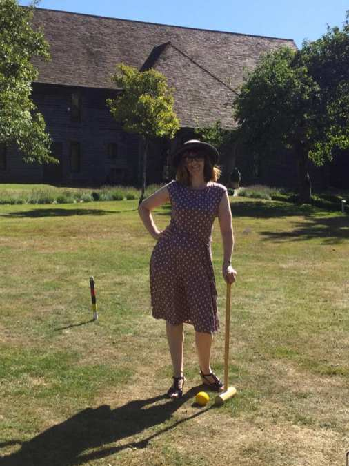Mum playing Croquet