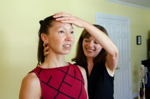 Imogen offers hands-on help, as well as verbal guidance, to teach her students to let go of tension and move freely