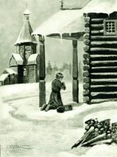 отрок Иоанн молится по пути в школу
