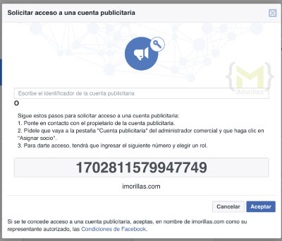 solicitar acceso a una cuenta publicitaria de facebook business