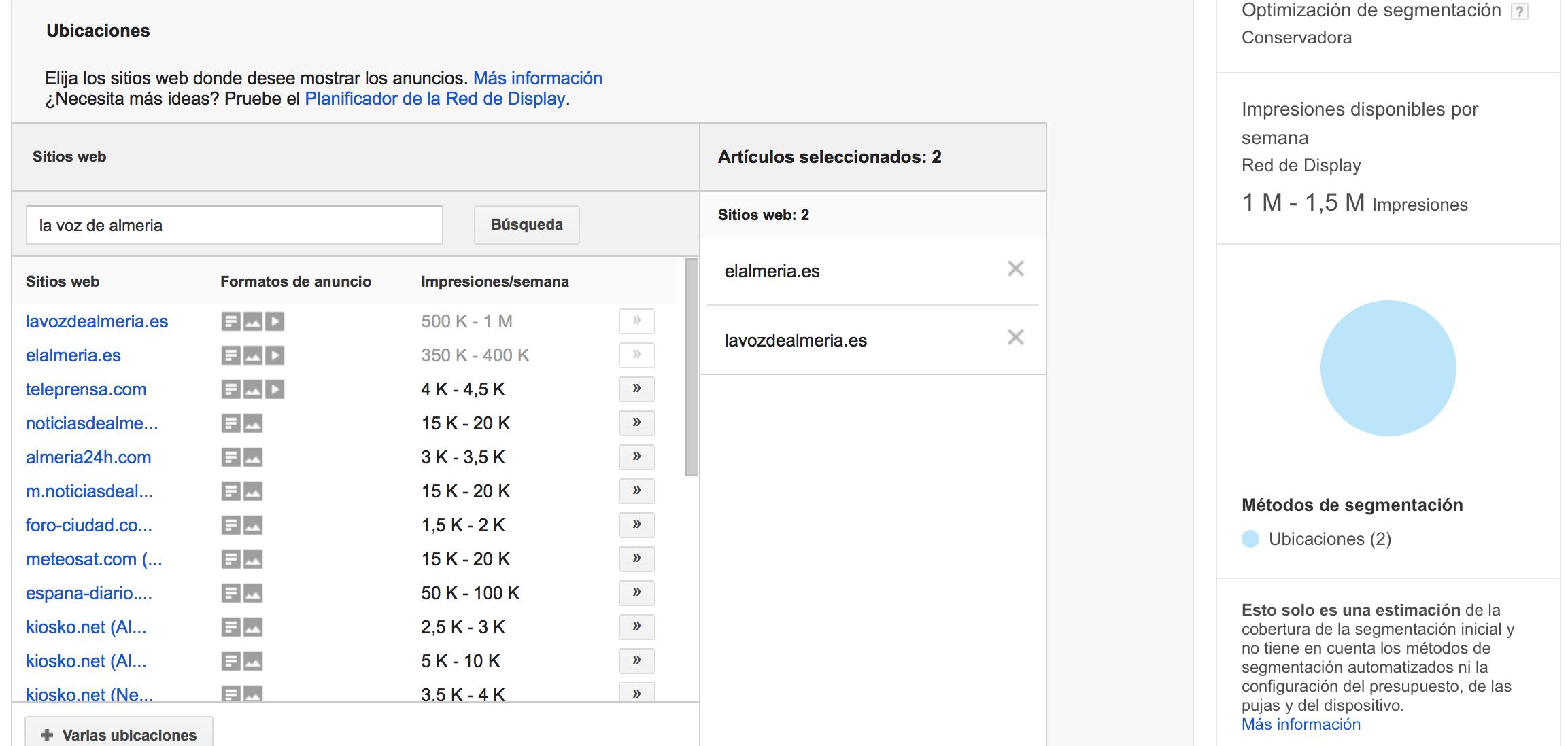 Ubicación de la publicidad en Google Adwords campaña de display