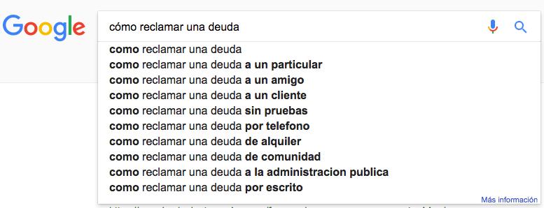 Google Suggest: Cómo Reclamar una Deuda
