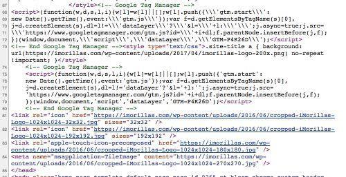 html con tag manager integrado en genesis