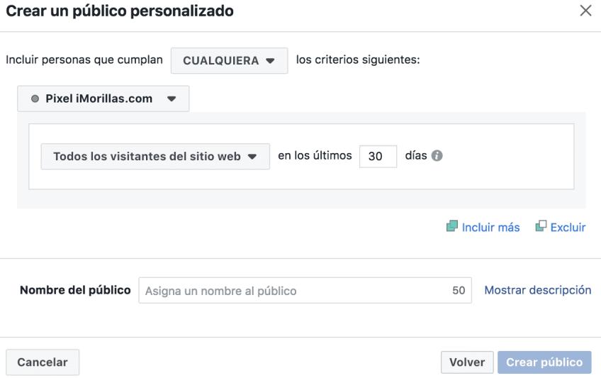 Captura de pantalla 2018 - Crear Público personalizado