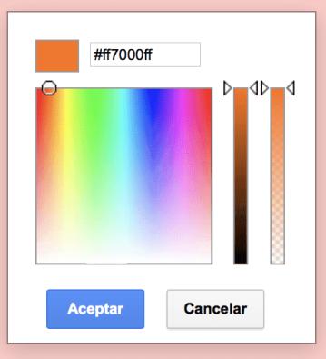 Si quieres usar un color que has encontrado con el complemento ColorZilla Chrome, solo tienes que hacer clic en Personalizar y pegar el código del color ahí.