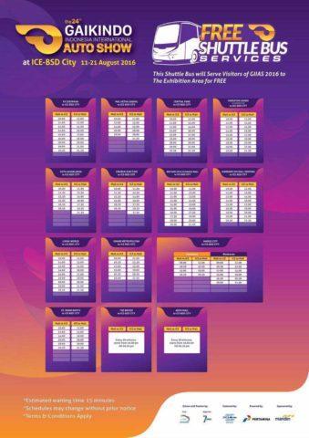 jadwal shuttle bus GIIAS 2016