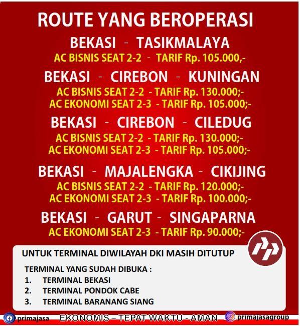 tarif bus primajasa berlaku 8 juni 2020