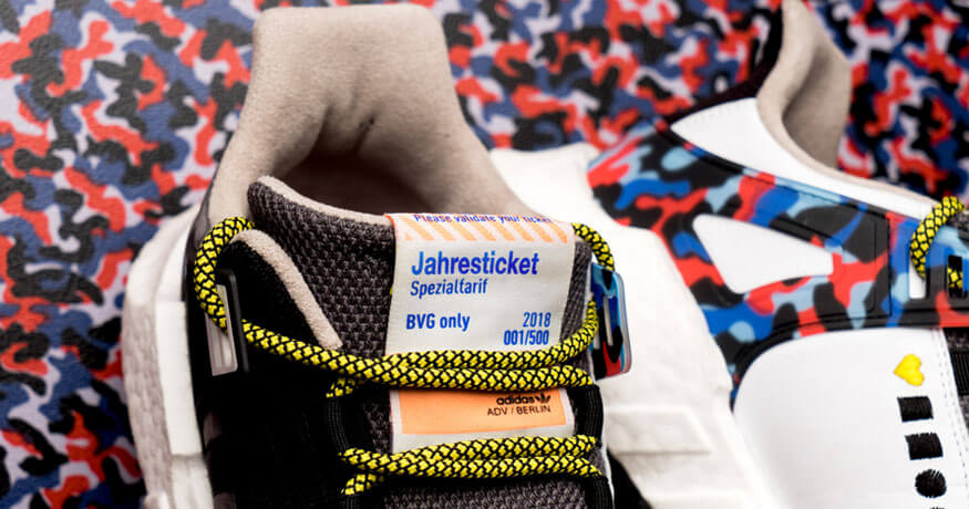 Adidas EQT Support shoes with BVG transport pass closeup of label