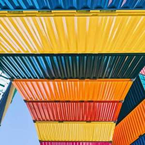 colourful freight container perspective
