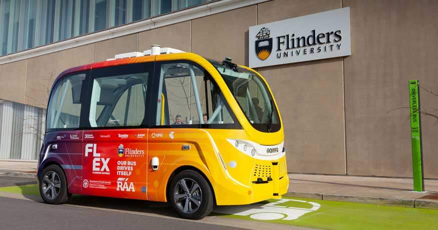 FLEX driverless shuttle Flinders University side view.