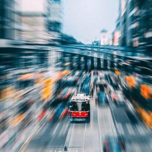 city transport motion blur