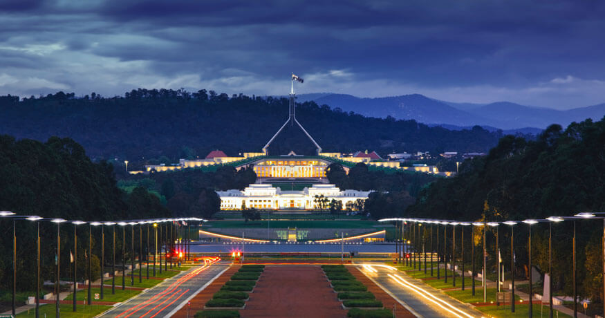 Australia Parliament House night Photo by Social Estate on Unsplash