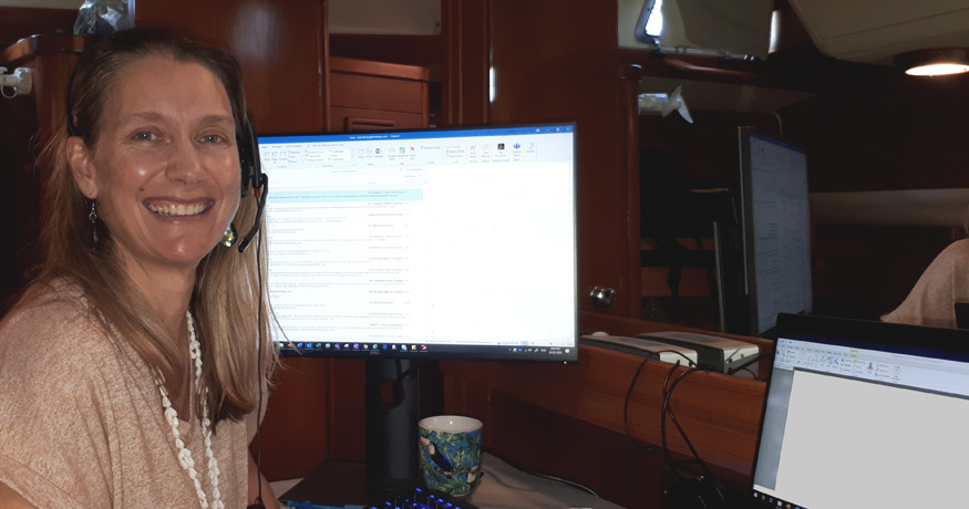 Kate Mackay working from her boat home