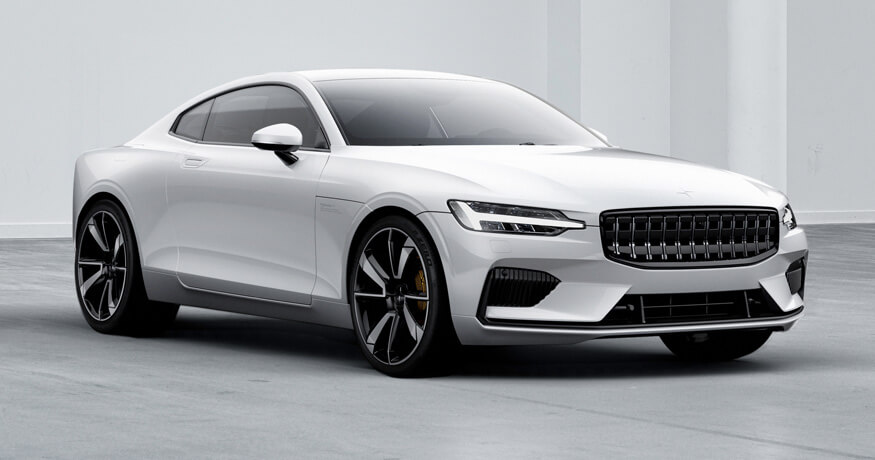 Polestar 1 electric car white front angle view
