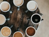 small table with a wide selection of coffees