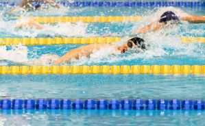 Swimming in lanes in pool