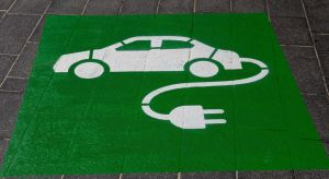 Electric vehicle sign painted on ground