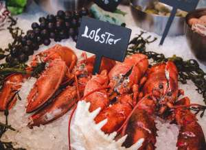 lobster on fresh fish counter