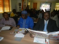 Hon. Bamigbetan, Alhaji OlowosaGO and another resource person at the workshop