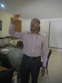 Mr Alonge of Media Rights speaking with the participants at the workshop