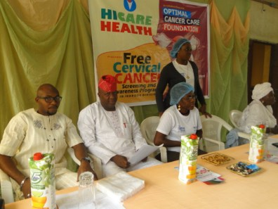 L-R, Mr Adedoyin, Hon Kazeem Obayemi, and officials of the Optimal Cancer Care Foundation
