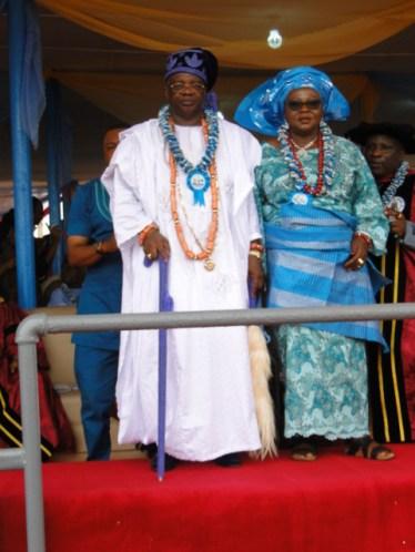 HRM & Olori Adewale KABIR, the Ayangbure of Ikorodu on the podium to receive Fellowship Award