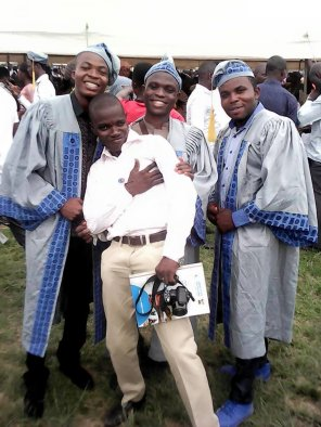 Kunle Adelabu with students of the department of Mass Communication during the Convocation ceremony