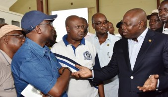 Lagos State Governor, Mr. Akinwunmi Ambode, with Special Adviser on Commerce, Hon. Adeyemi Olabinjo; Commissioner for Agriculture, Hon. Toyin Suarau; Commissioner for Transportation, Dr. Dayo Mobereola and Commissioner for Works & Infrastructure, Engr. Ganiyu Johnson during the Governor's inspection of the Eko Rice Mill at the Agric Park, Imota, Ikorodu, Lagos, on Tuesday, April 12, 2016.