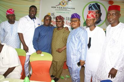 The Majority Leader, Hon. Agunbiade (middle), Hon. Babajimi Benson ((2nd left) Hon. Solaja (2nd right0 and others at the event